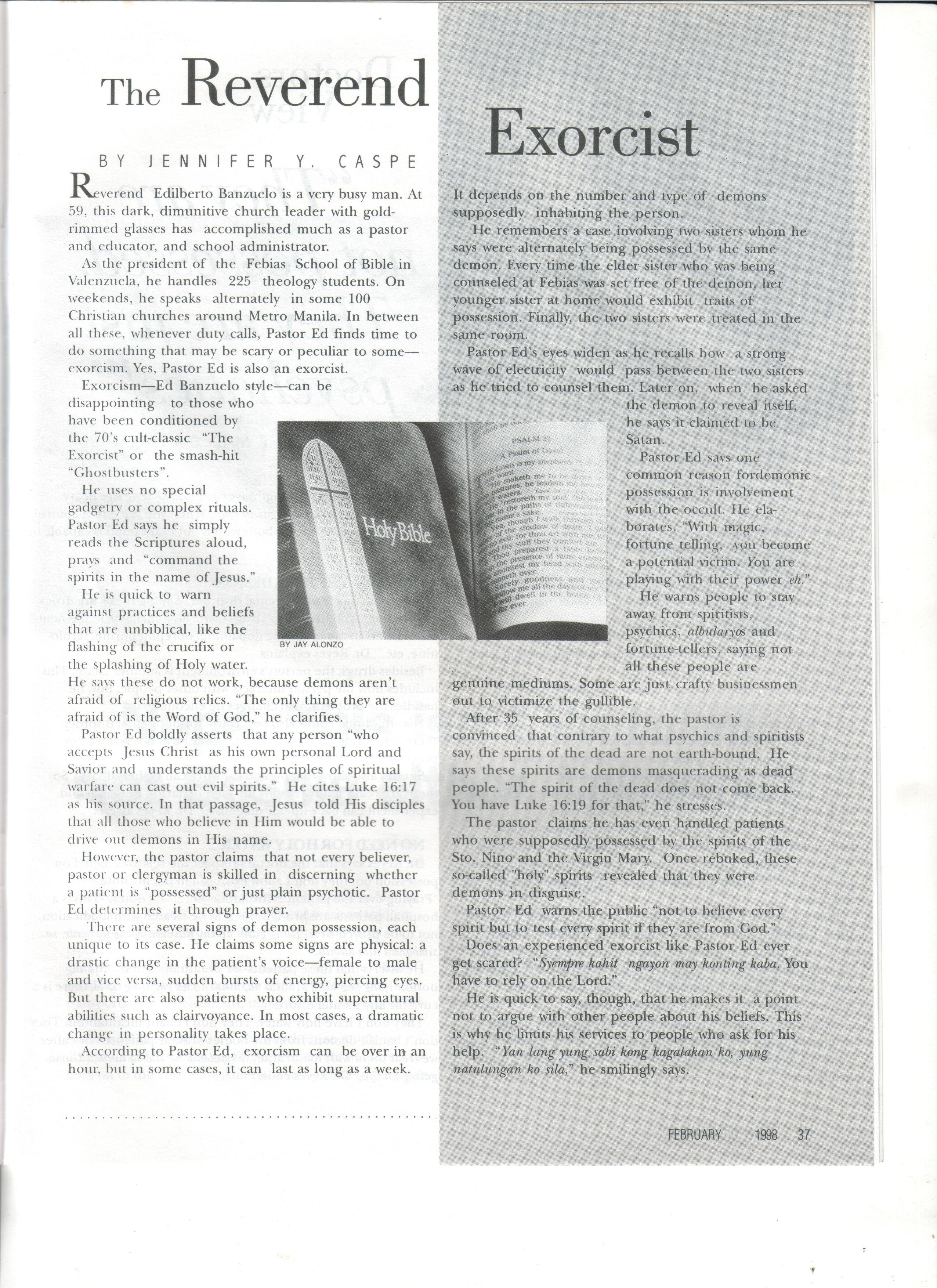 Lifelife Magazine: The Reverend Exorcist