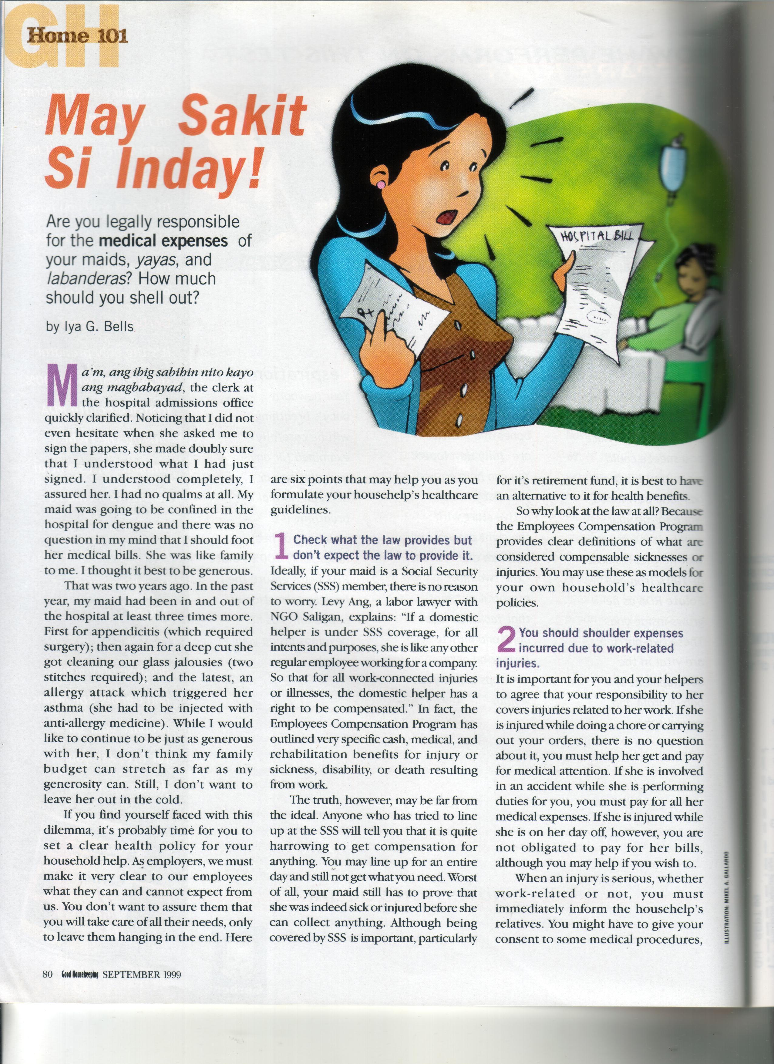 Good Housekeeping Magazine: May Sakit Si Inday!